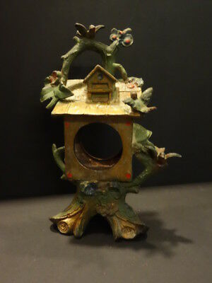 Unusual Clock Tree & Bird House Black Forest Style Cold Painted Vienna Bronze