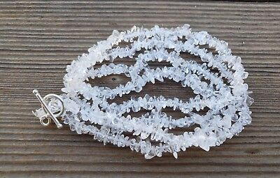 "Natural Clear Quartz Stone Gemstone 30"" Chip Necklace"
