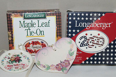 Longaberger Lot Of 4 Tie-On's,  2000 All American,maple Leaf, 99 Mom's Day,heart