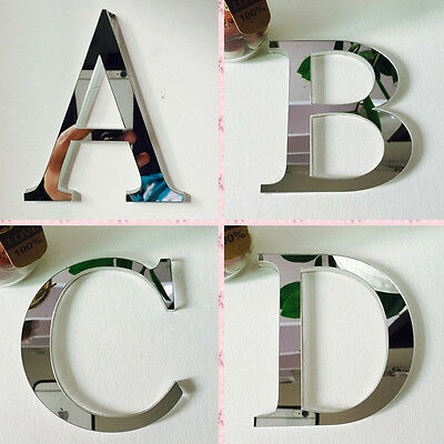 3D Mirror Letters Wall Stickers Kids Room DIY Fun Crafts Decal Art Home Decor