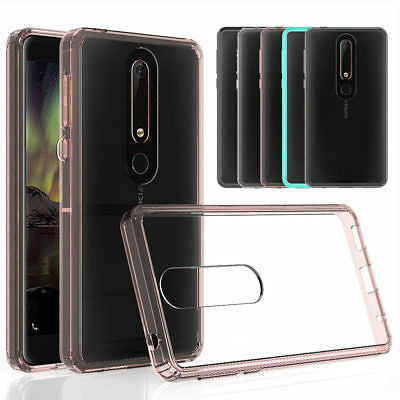 For Nokia 6.1 (Nokia 6 2018) Hybrid Soft TPU Shockproof Bumper Clear Case Cover