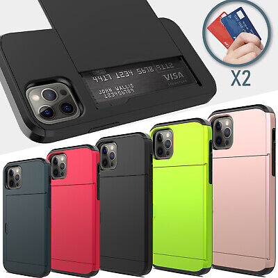 For iPhone Xs / Xs Max / XR Armor With Card Wallet Holder Slot Phone Case Cover