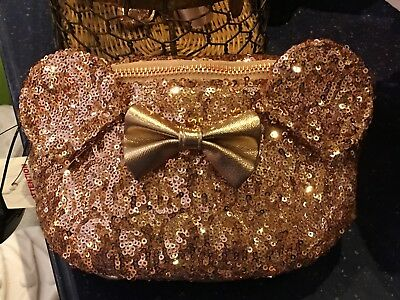 Disney Parks Loungefly Rose Gold Sequin Fanny/Hip Pack Minnie Ears Bow NWT