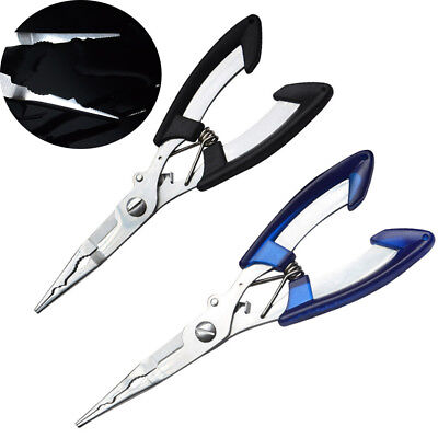 1Pc Long Flat Nose Fishing Pliers Hook Cutter Stainless Steel Scissors