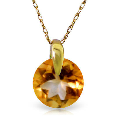 14K Solid Gold Women's Beautiful Love Of My Life Citrine Fashion Necklace 0.8 Ct
