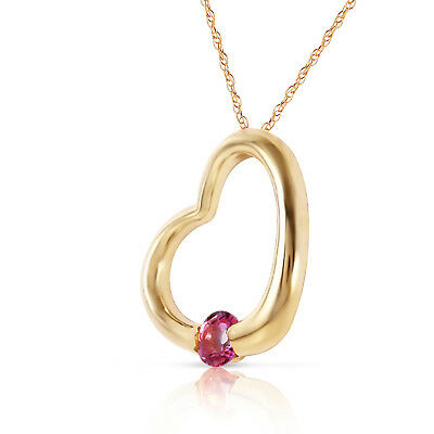 14K Solid Gold Women's Beautiful Heart Fashion Necklace with Natural Pink Topaz