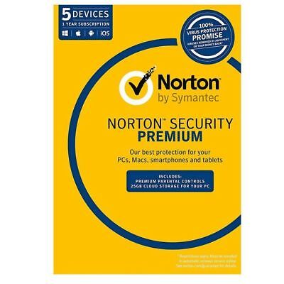 Norton Antivirus Security Standard DELUXE PREMIUM 2020 1 - 5 User PC Mac Android