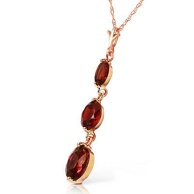 14K Solid Rose Gold Women's Gorgeous Fashion Necklace w/ Natural Garnets
