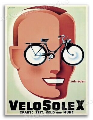 1950 Velo Solex Bicycles Vintage Style Cycling Poster - 20x28