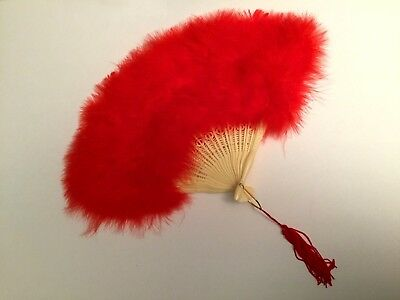 Red Fluffy Full Feather Folding Hand FAN Costume Dress Up Cosplay Halloween Girl