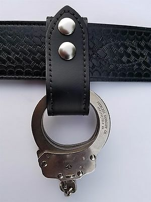 Plain Stitched Leather Handcuffs Holder, Fits 2 1/4'' Duty Belt, Nickel Snaps