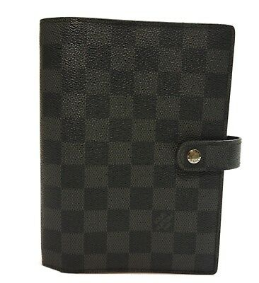 Authentic LOUIS VUITTON Agenda MM notebook cover Damier Ebene PVC #8848