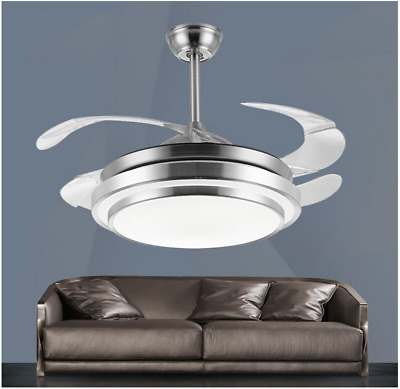 """Silver LED Invisible Ceiling Fan Light Chandelier Dining Room Fan Lamp 36"""""""