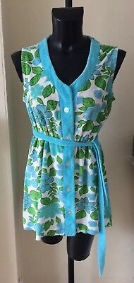 Vintage Retro Towelling Beach Dress 1960s Flower Power 12-14 Turquoise    Green 74884c328