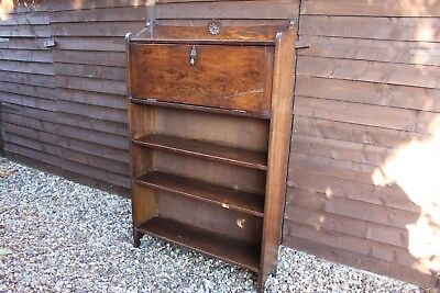 Vintage Bookcase Bureau. Writing Bureau with Bookcase. Oak
