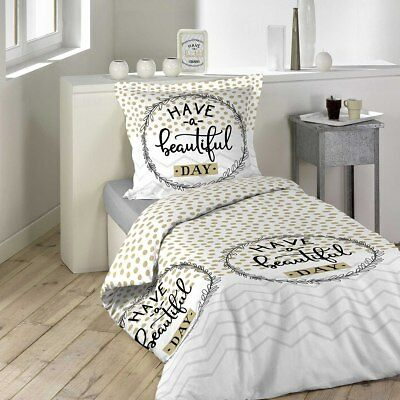 Housse de couette 140x200 Beautiful Day + 1 taie 100% coton - Multicolore - 140x