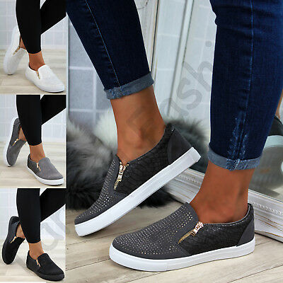 New Womens Casual Sneakers Flat Slip On Diamante Zip Trainers Pumps Shoes Sizes
