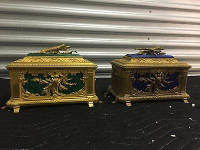 MAGNIFICENT ULTRA RARE ANTIQUE FRENCH  GILT DORE BRONZE BOXES 1820-1860's MUSEUM