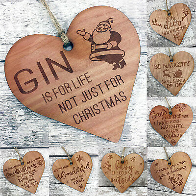 Christmas Gift Novelty Plaque Funny Gin Xmas Stocking Filler Engraved Wood Heart