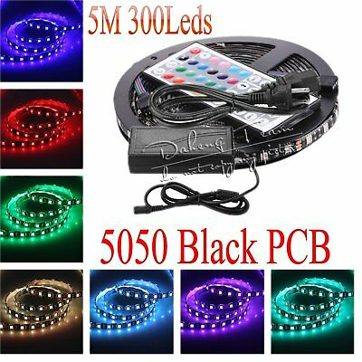 Black PCB 5050 SMD 5M Flexible LED Light Strip Xmas Home Car DIY Ribbon Lamps