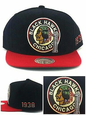 Chicago Blackhawks New Mitchell & Ness Stanley Cup Black Red Era Snapback Hat