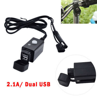 Motorcycle SAE to USB Cable Charger Adapter 2.1A Dual Ports Power Socket 12-24V