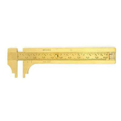 "4"" 100mm Brass CALIPER Sliding Vernier Ruler Gauge Gem Tool Bead Measuring Inch"