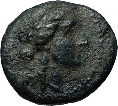 350-100BC Authentic Ancient Genuine GREEK City Coin w APOLLO & TRIPOD i68111
