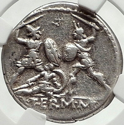 Roman Republic Authentic Ancient Silver 103BC Rome Coin BATTLE SCENE NGC i68166