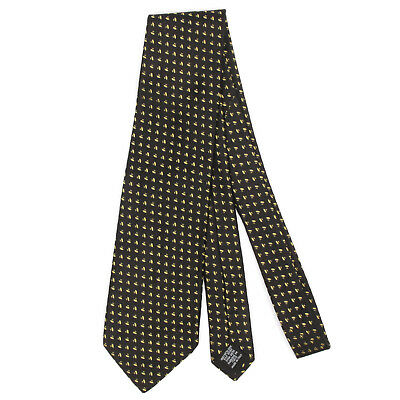 HUGO BOSS Sleek UFO Geometric Black Gold Mens Silk Neck Tie