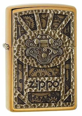 Zippo Gear Design Pocket Lighter, Brushed Brass 29103