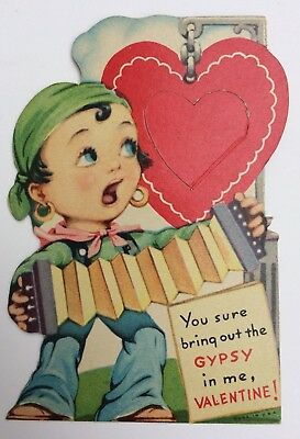 Vintage Gypsy Singing Mechanical Valentine Card Made In USA 1940's