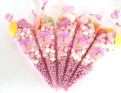 15 Pre Filled Sweet Cones Belle Princess Themed Personalised  x 15 Party sweets