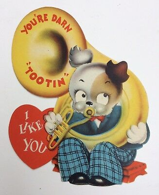 Vintage Mechanical Valentine Card Dog Playing Tuba Made In USA