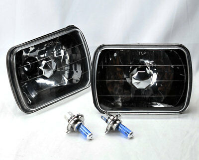 "7x6"" Halogen H4 Black Chrome Glass Headlight Conversion w/ Bulbs Pair RH LH Plym"