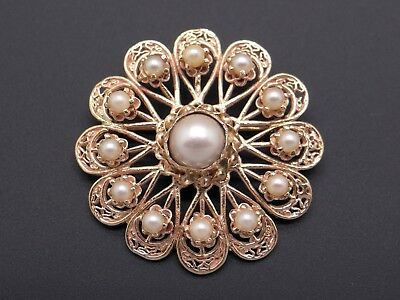14k Yellow Gold Pearl Flower Leaf Brooch Pin Pendant Retro Estate