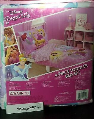 Disney Princess Belle Ariel Rapunzel 4 Piece Toddler Bedding Set Led Night Light