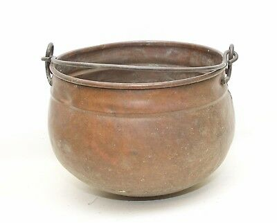 Ant. Vintage Copper Cauldron Type Planter Jardinaire Brass Hanging Handle 10 in.