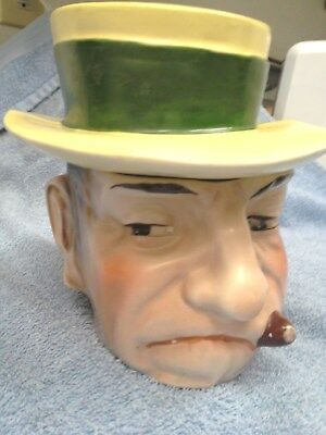 Vintage 1920's Collectible Humidor Figure Head Man With Cigar