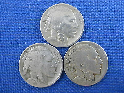 3 Pc U.s. Buffalo Nickel Coin Lot 1915 D 1916 D 1916 S