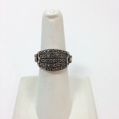Vintage Nouveau Deco Marcasite Dome Band Ring Size 6 Sterling Silver 925 FMGE