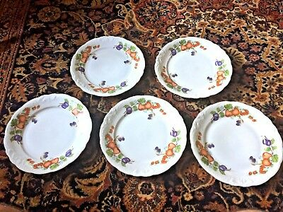 "Set of 5 Royal Kent Poland Porcelain Fruit Garland 10"" Dinner Plates Excellent"