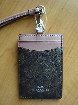 6a56170b COACH SIGNATURE DUSTY Rose LANYARD ID Card Badge Holder Case Wallet F63274  NEW