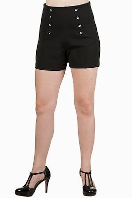Black Rockabilly Vintage 50's Anchor Buttons High Waist Shorts By Banned Apparel