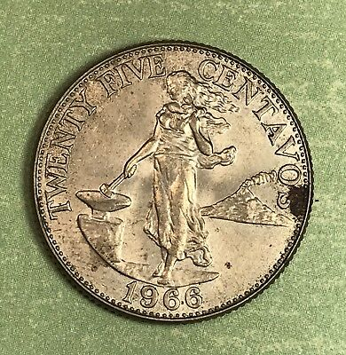 1966 Philippines 25 Centavos. Collector Coin For Your Collection.1