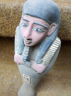 RARE ANCIENT EGYPTIAN HIEROGLYPHIC Artifact Antique Ushabti Ramses Color Bc