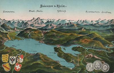 EARLY 1900\'S BODENSEE und RHEIN MAP ALPS MOUNTAINS COATS of ARMS ...
