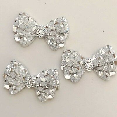 40Pcs 14*23mm Silver hiny Bow Resin Appliques/Craft Christmas Home Decorate Diy