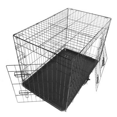 2 Doors Dog Pet Cat Travel Crate Kennel Metal Folding Cage Divider w/Tray 30''in