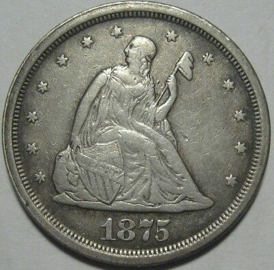 = 1875-S XF TWENTY Cent PIECE, Nice Details & EYE Appeal, FREE SHIPPING